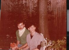"""John and Jeffrey Rindler. John thought it was """"high-art"""" posing with this bit of garden pottery."""