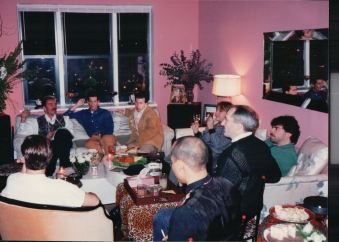 Big stars gather around to watch Barbra Streisand on '20/20' Nov. 19, 1993. Pictured John Hanrahan, Jeffrey Rindler and other guests.