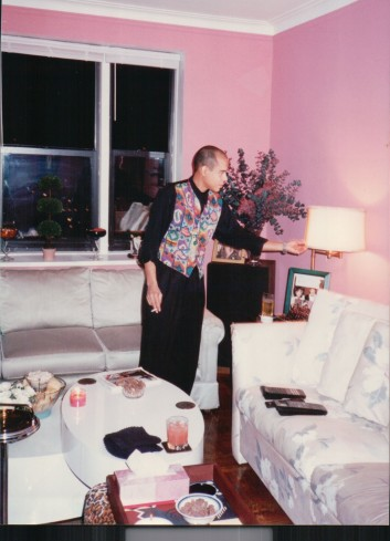 "Carlos makes sure every last detail is in order for the Nov. 19th 1993 ""20/20"" viewing party. Although I brought the pink walls with me when I moved to Riverdale, Carlos and John upgraded to more patterned outfits."