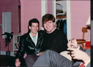Jeffrey Rindler and Joe Naughton at the 3rd Anniversary 'Yentl' Party.  Jeffrey kept his leather on because I was hot in my sweater and had opened all the windows.