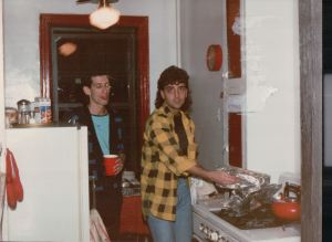 Jeffrey Rindler and Alex Hampsas had to take over in the kitchen as I was overcome with heat.  Can you see Alex's black-eye?  Everyone's hair was longer in 1986. A lot had changed since 1983.  Music videos being the main culprit.