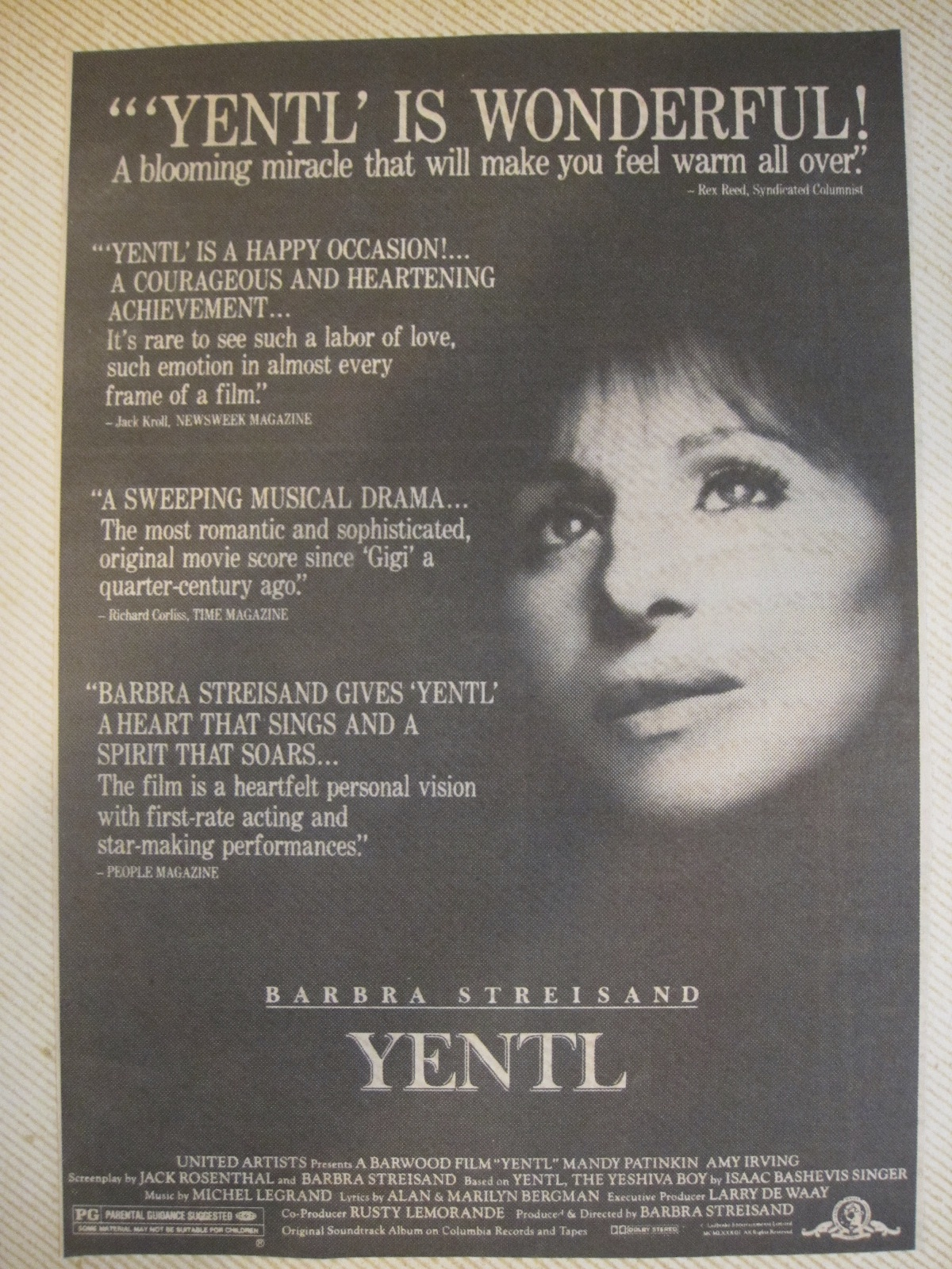 a movie review of yentl Movie review: yentl essays: over 180,000 movie review: yentl essays, movie review: yentl term papers, movie review: yentl research paper, book reports 184 990 essays, term and research.