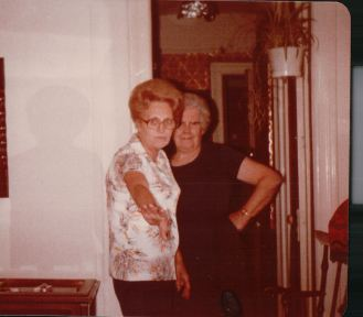 """D"" Curley and my mother's Aunt Margaret in our living room. Early 70s. This would be the image I have in my mind of her thrusting the package at me."