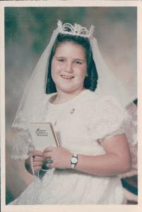 Kate made most a lost of my sister's dresses.  This is Mary at her First Holy Communion, 1969.  This picture was displayed in the photographer's window for years.