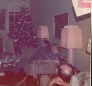 """This is the only picture I have of """"Papa"""" Hanrahan, his back to the camera, relaxing in his chair."""