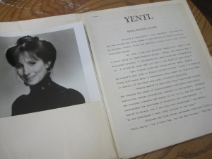 The 'Yentl' press kit!  Thank you nice guy who answered the phone!  Thank you!