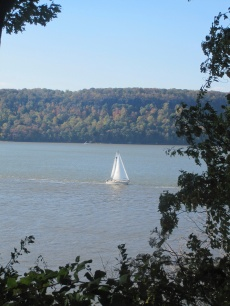 The views were lovely during the walk. A sailboat on the Hudson River.